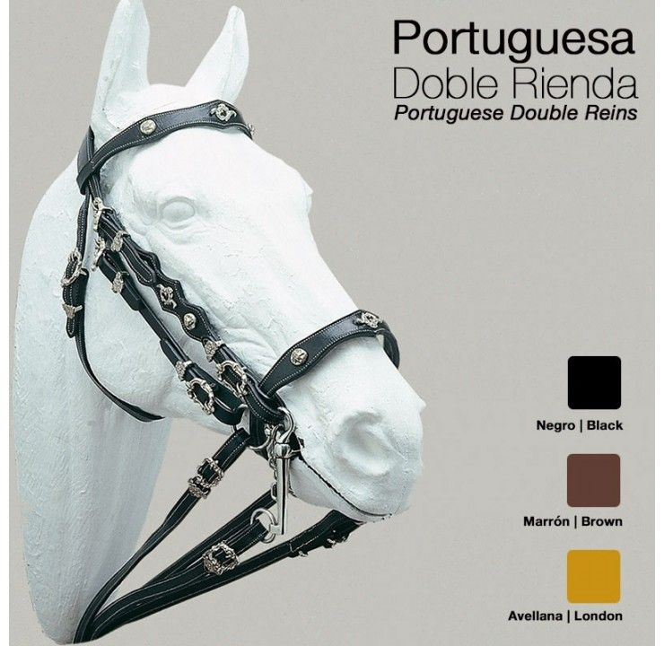 Black Double Bridle Reins with Buckles