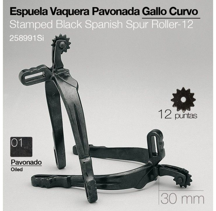 Vaquera spurs - short & with small (downward) curve, with rowel